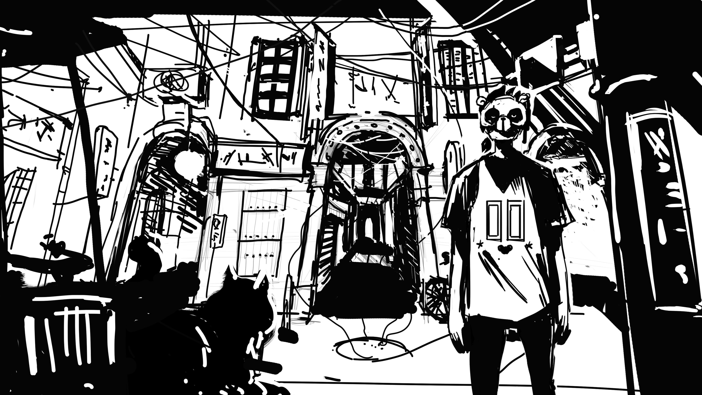 Black and white concept illustration of a character in the middle of the street