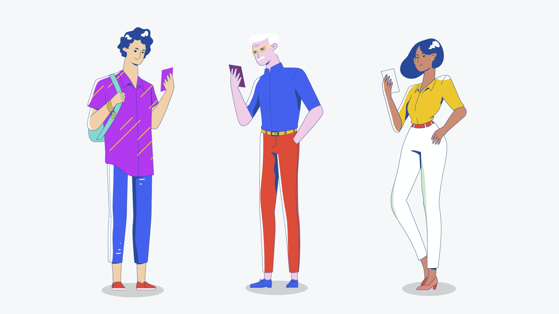 Young woman, young man and old man flat character design