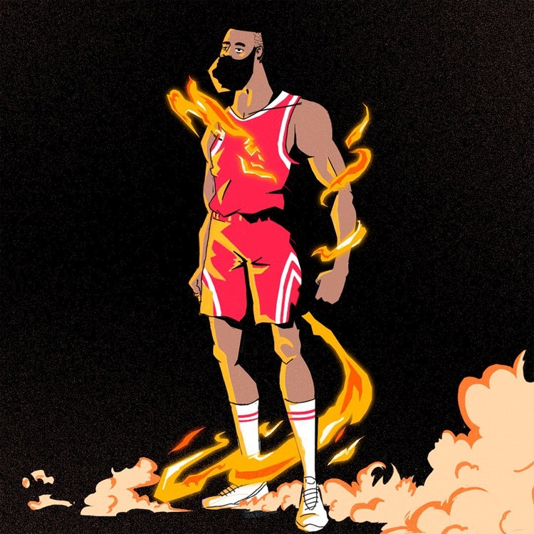 Harden basketball player illustration