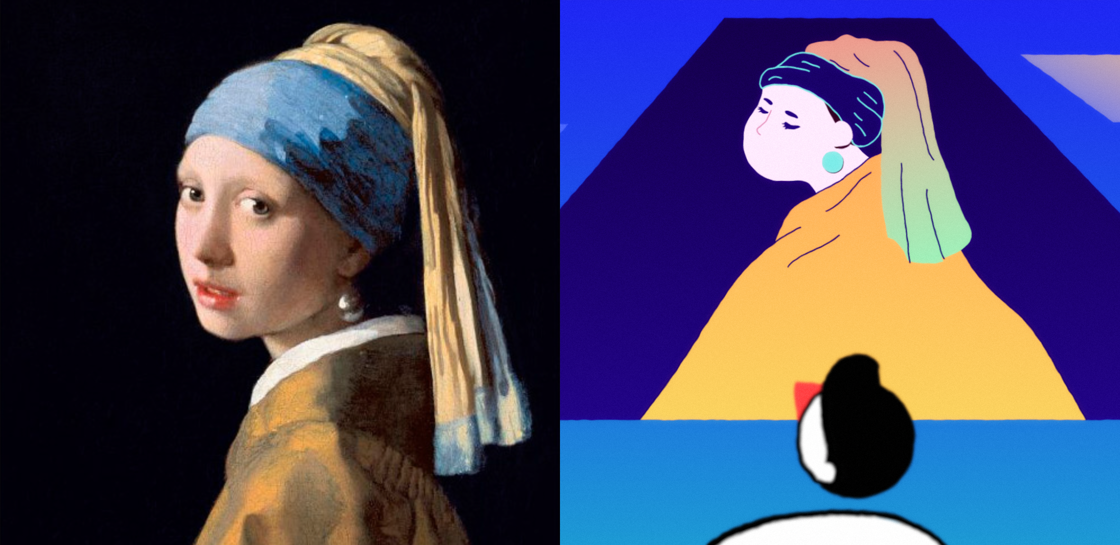 Girl with a Pearl Earring by Vermeer original and illustration
