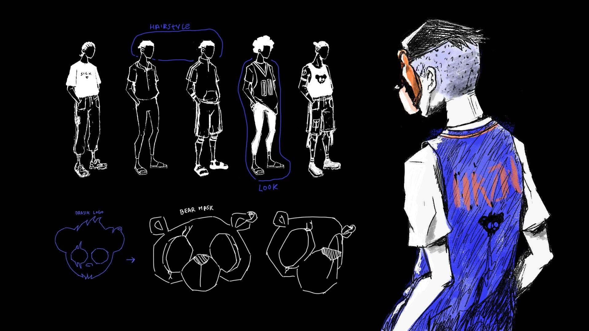 Half human half bear character design