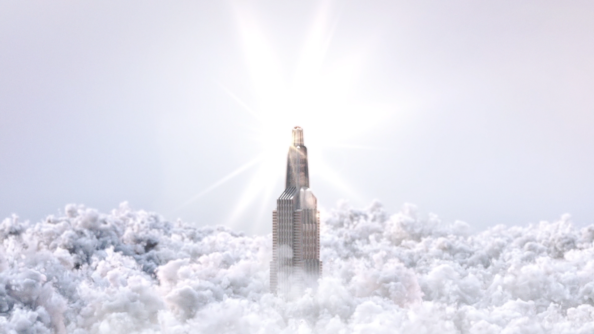 Skyscraper over the clouds