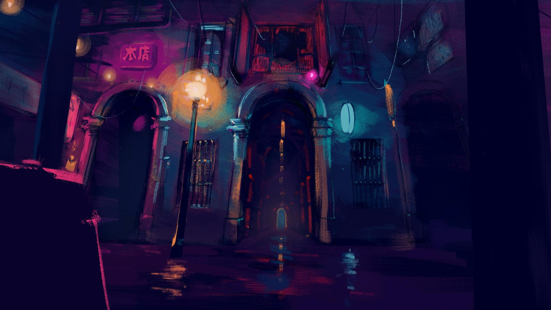 Illustration of an empty street