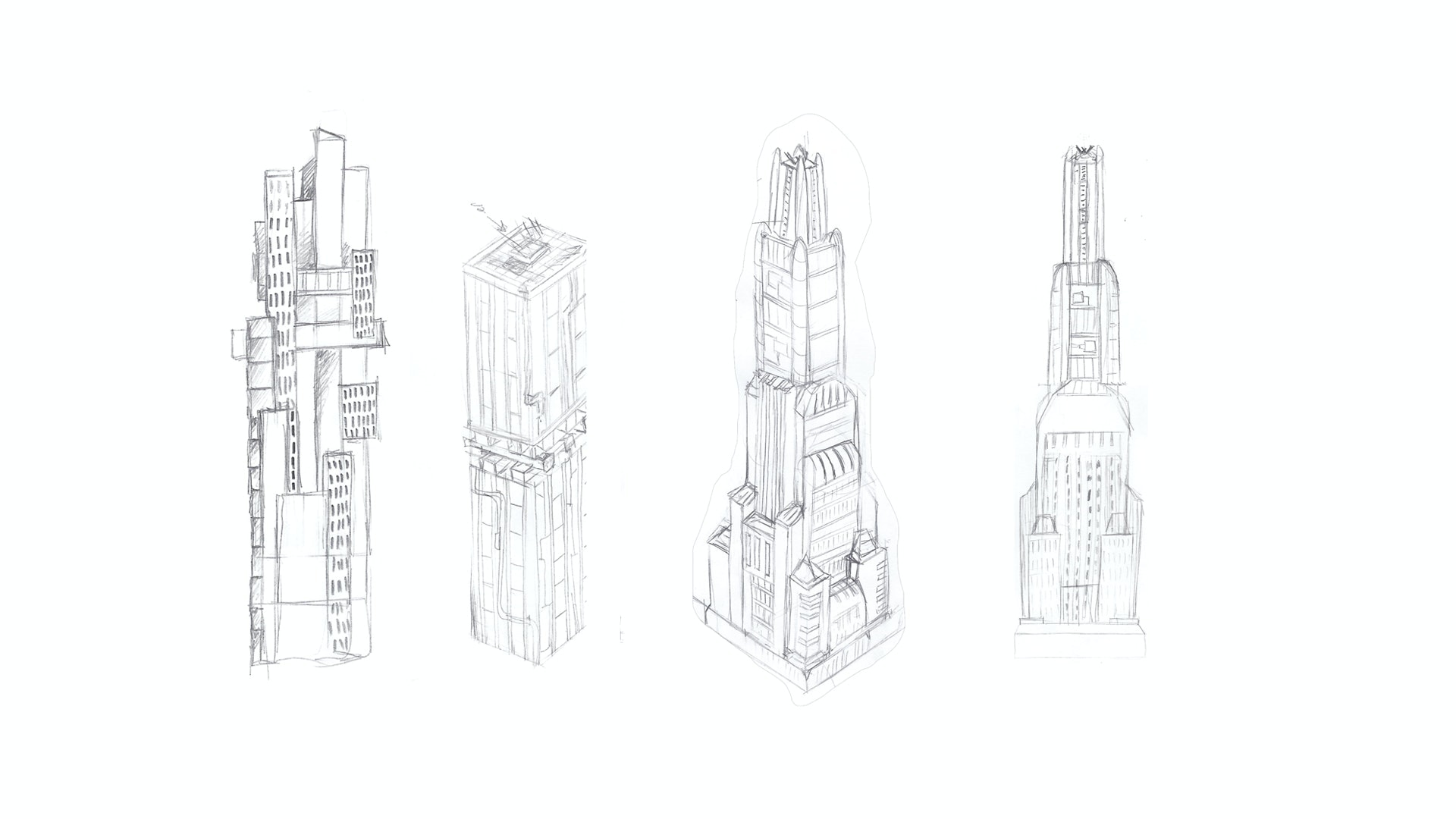 3D skyscraper building sketch