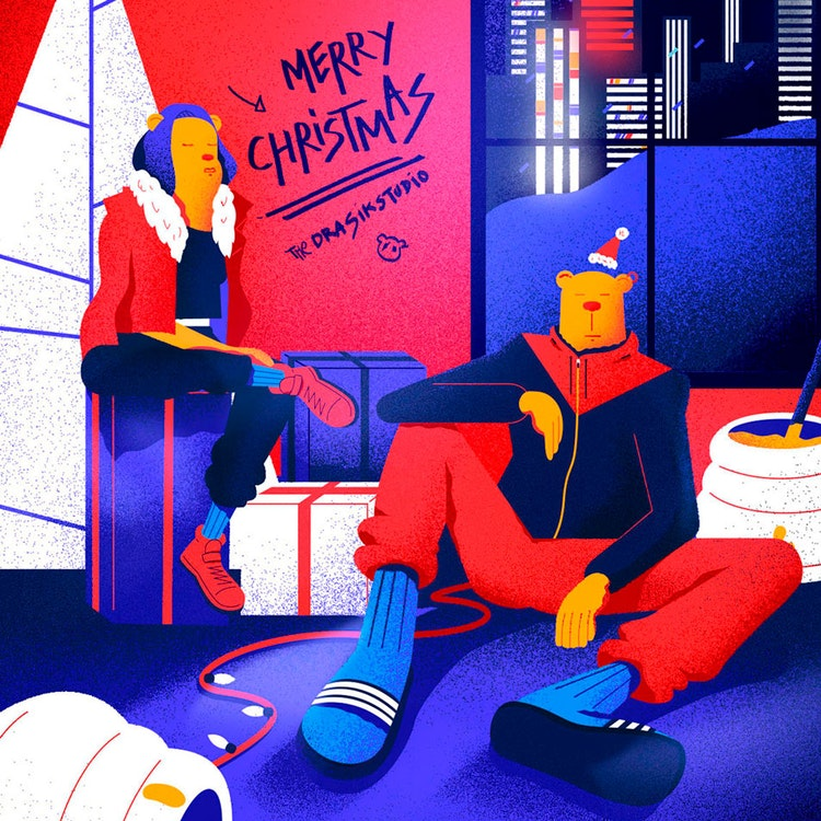 Modern Santa and Mrs. Claus Christmas illustration