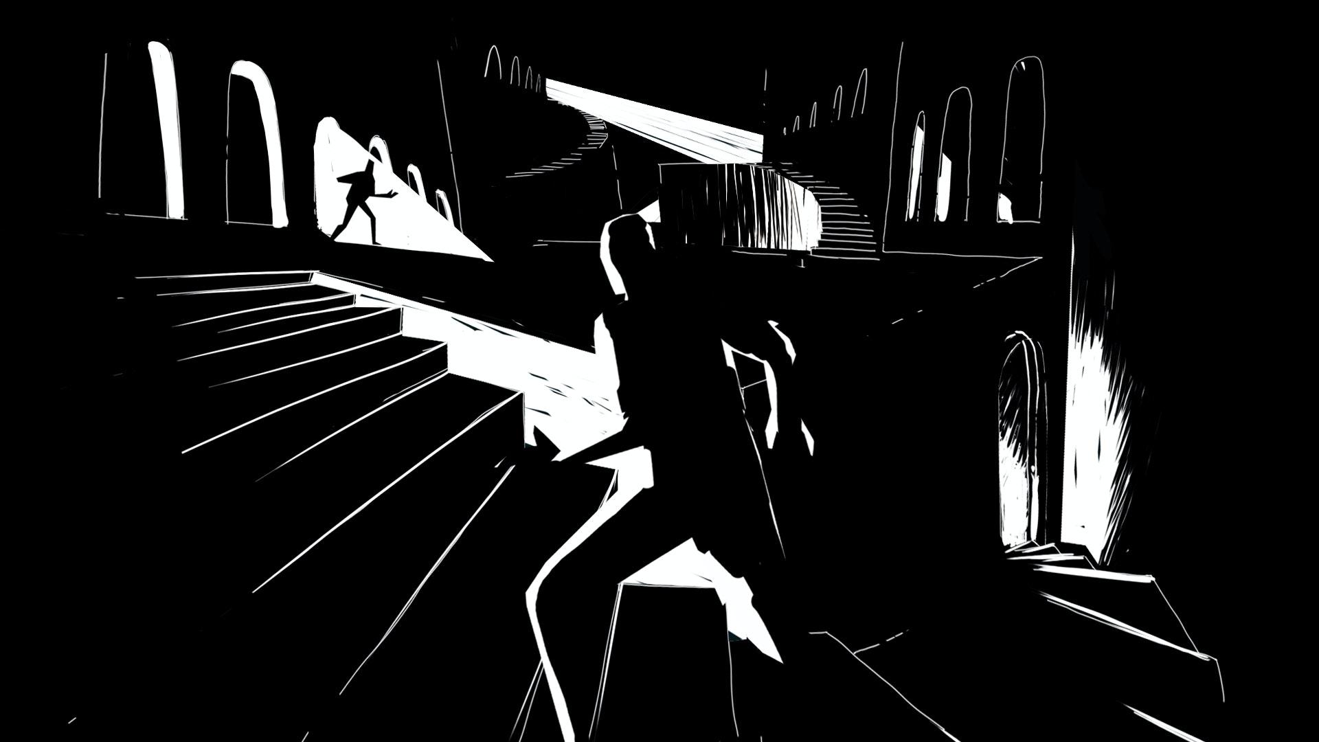 Black and white concept illustration