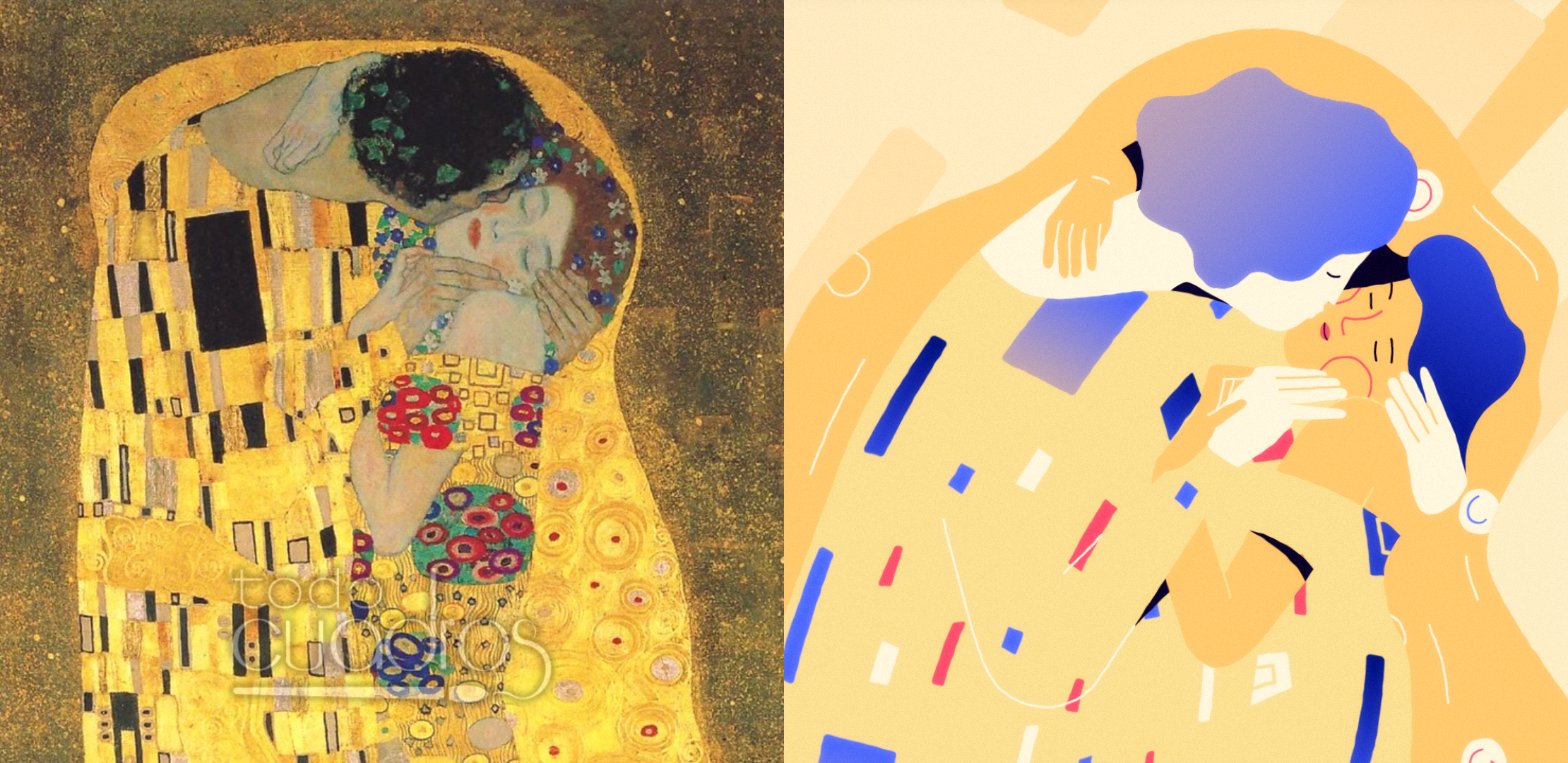The Kiss by Klimt original and illustration