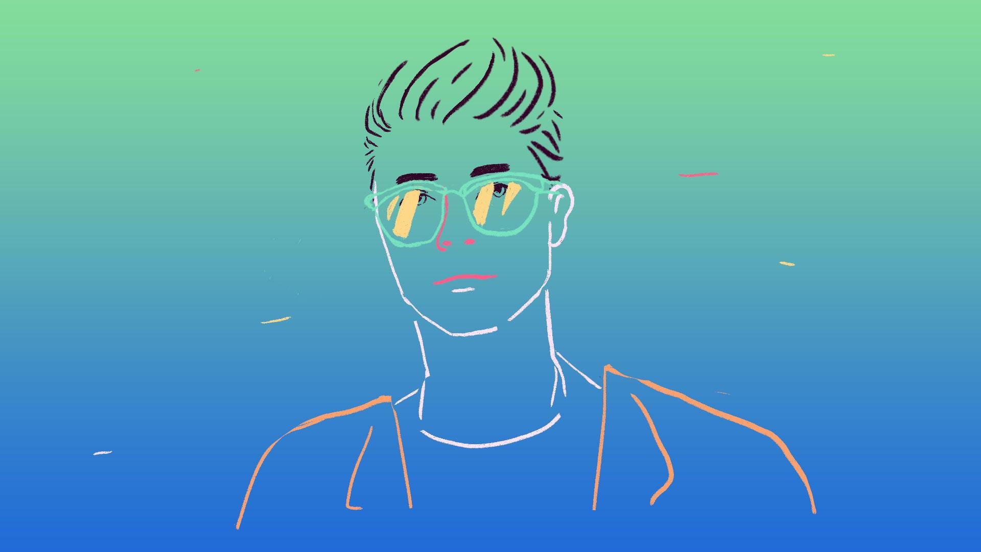 Man line drawing
