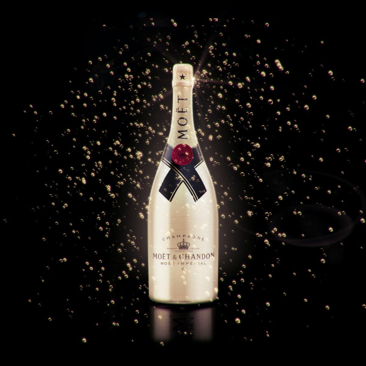 3D champagne bottle with bubbles artwork
