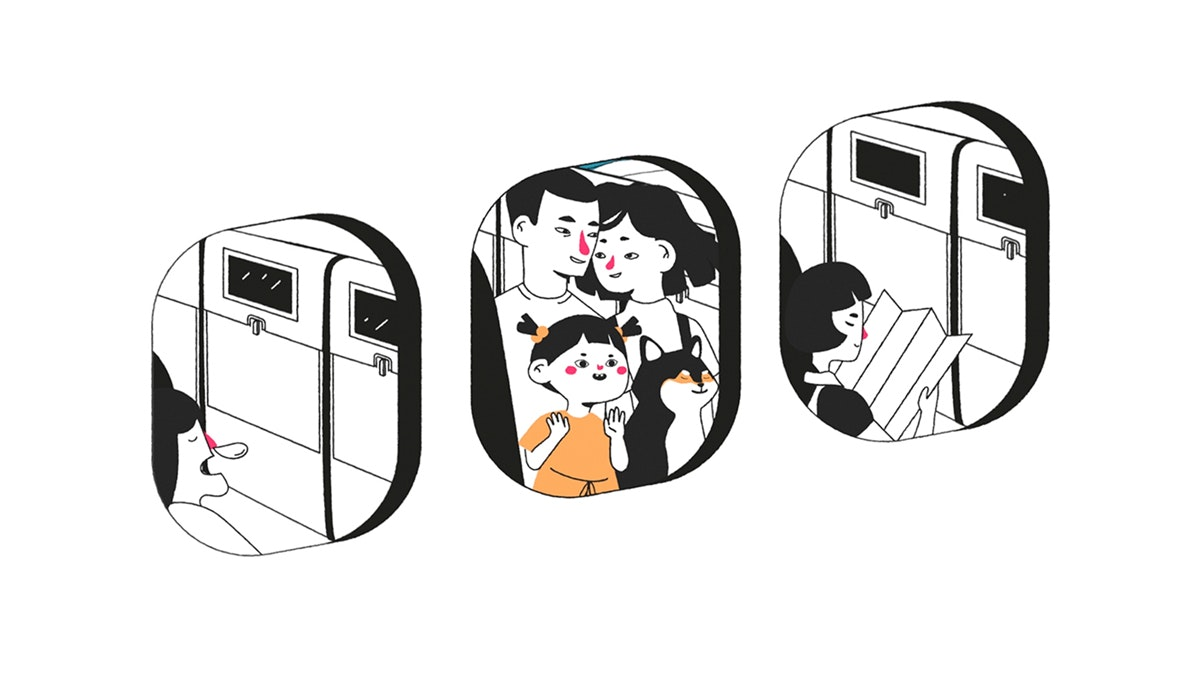 Illustration of a family looking out the window of the plane