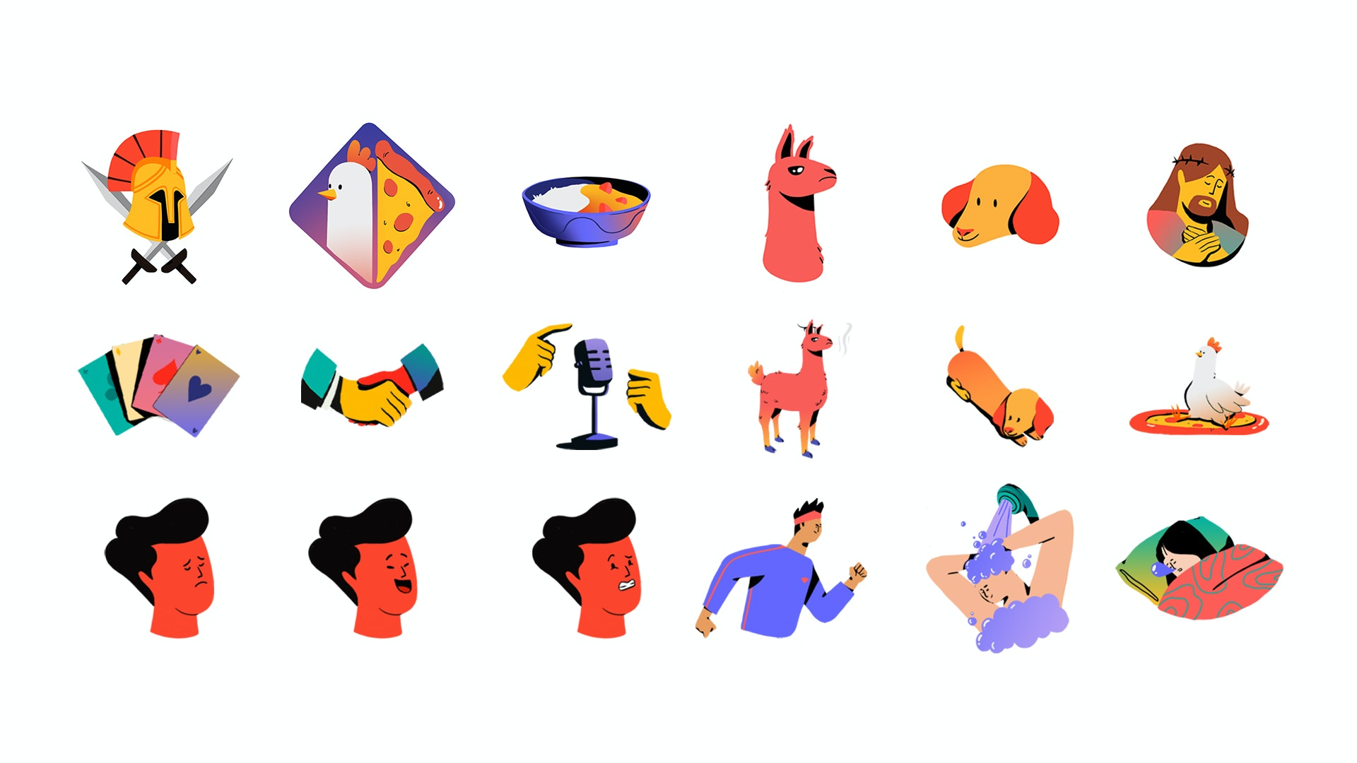 Character design illustration of gladiator, chicken, pizza, llama, dog, christ, curry bowl, cards,  hands and funny faces