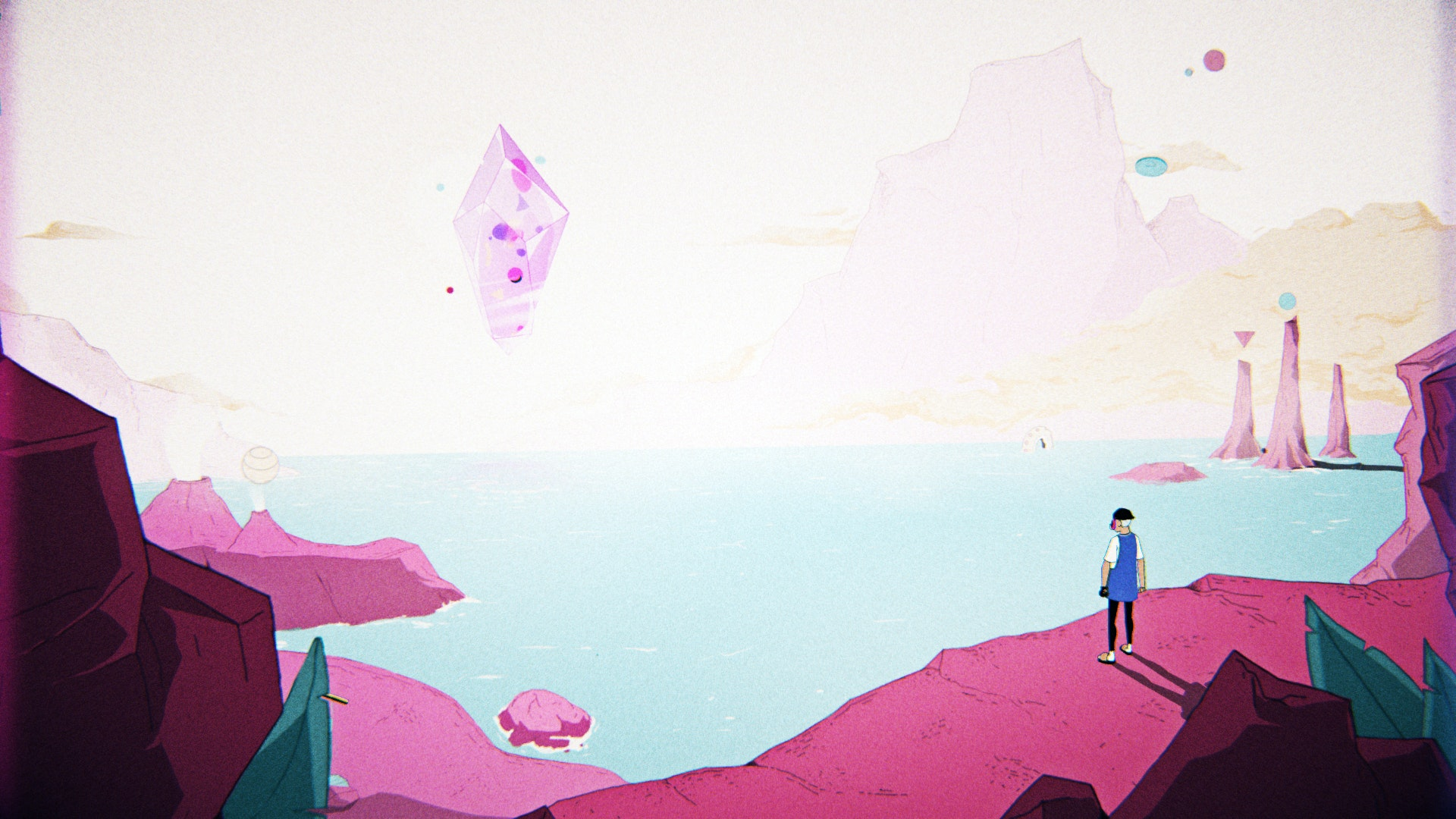 Illustration of a surrealist landscape with a levitating diamond