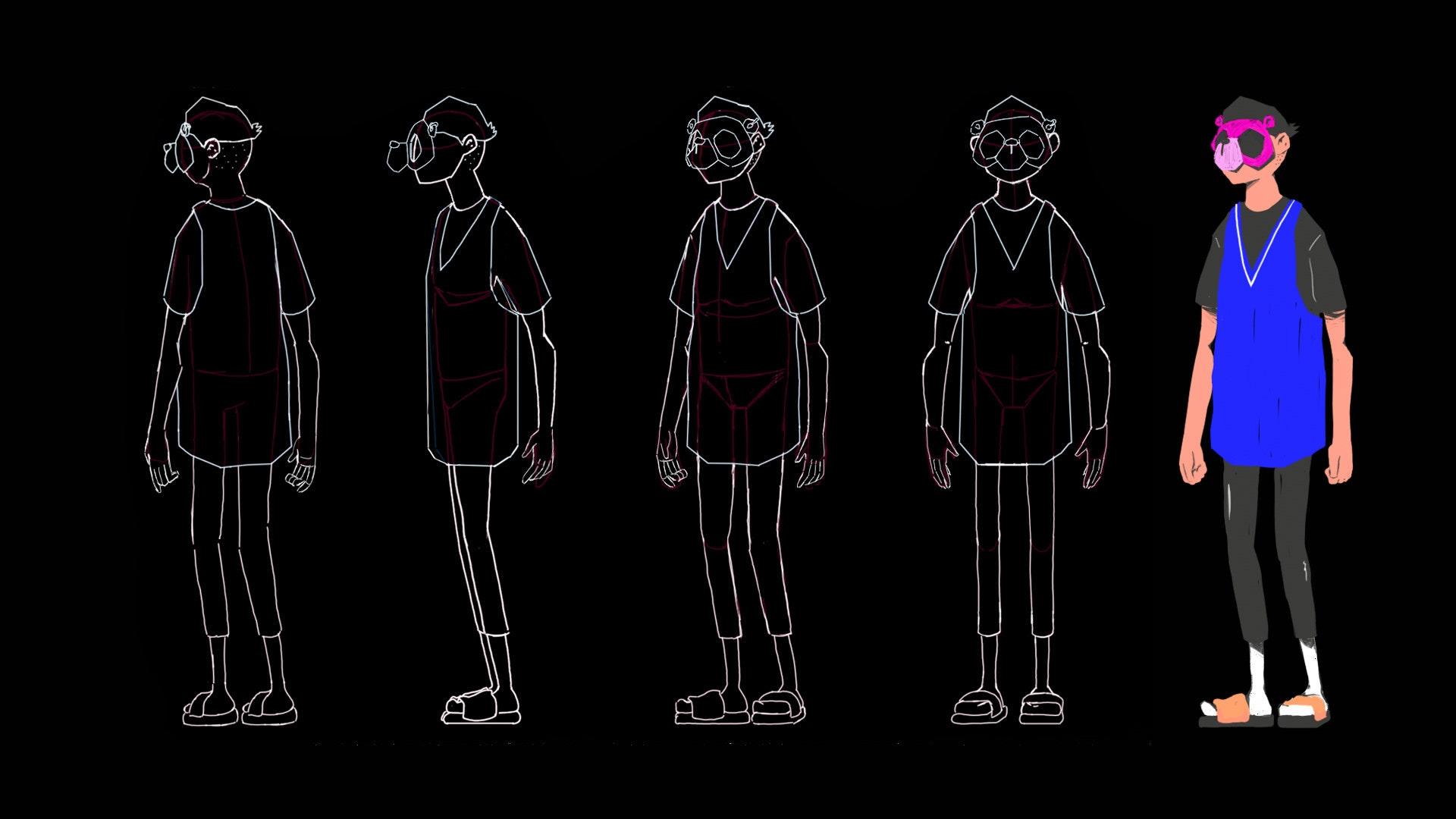 Half human half bear character design turnaround