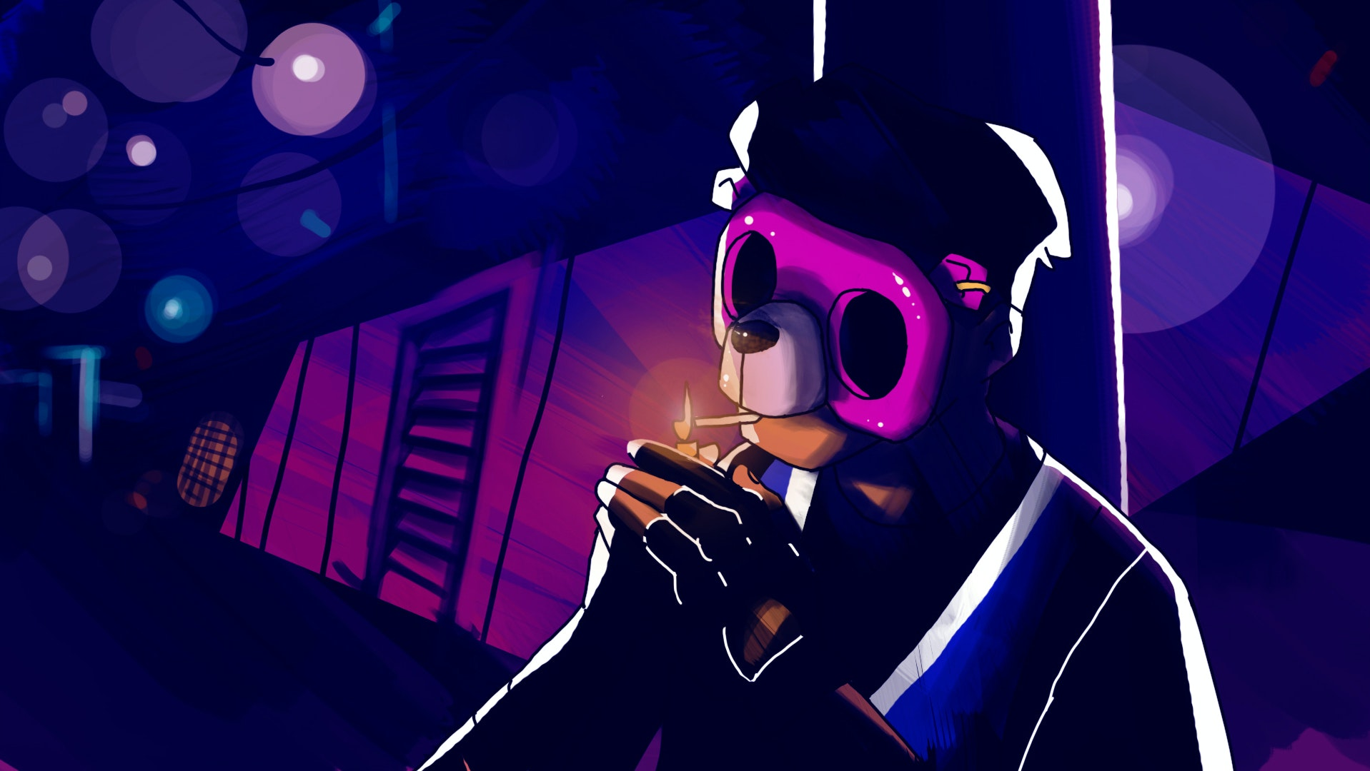 Concept illustration of a character with a mask smoking a cigarette