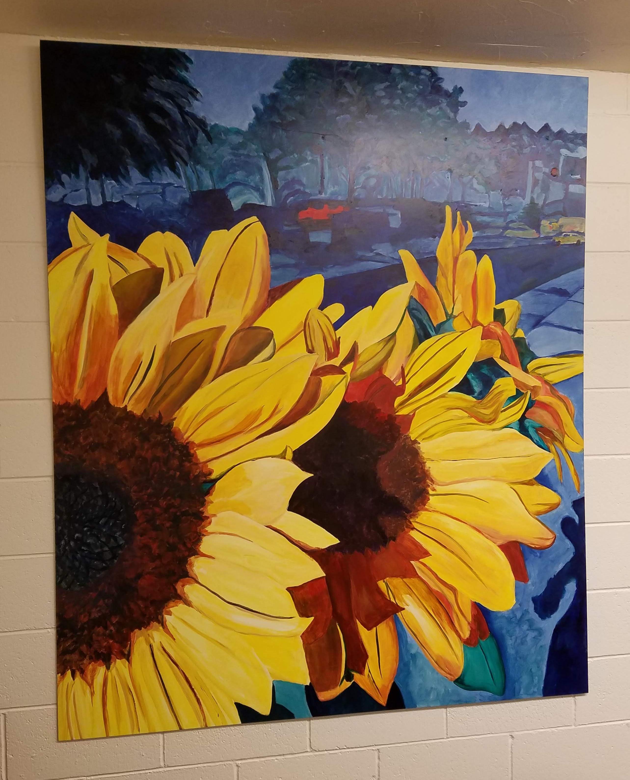 Working Artist Decorating - sunflower triptych, left panel