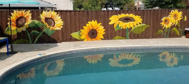 Poolside Sunflowers