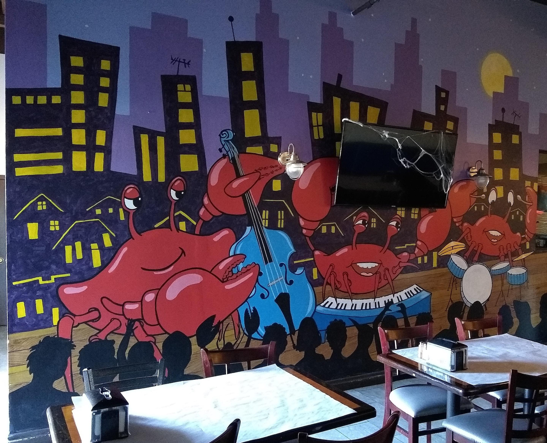 Working Artist Decorating - crab city with tv spiderwebs (halloween)