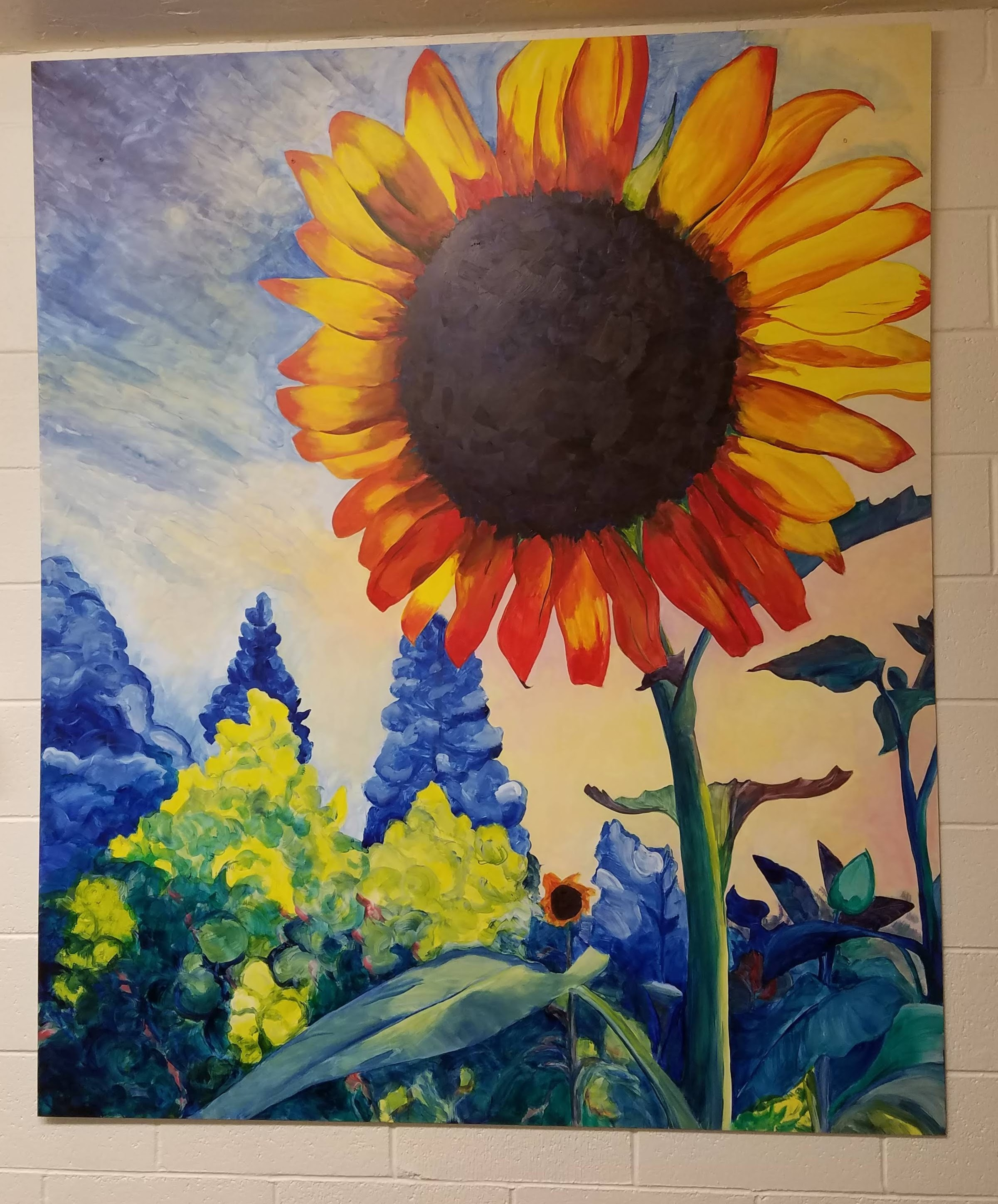 Working Artist Decorating - sunflower triptych, right panel