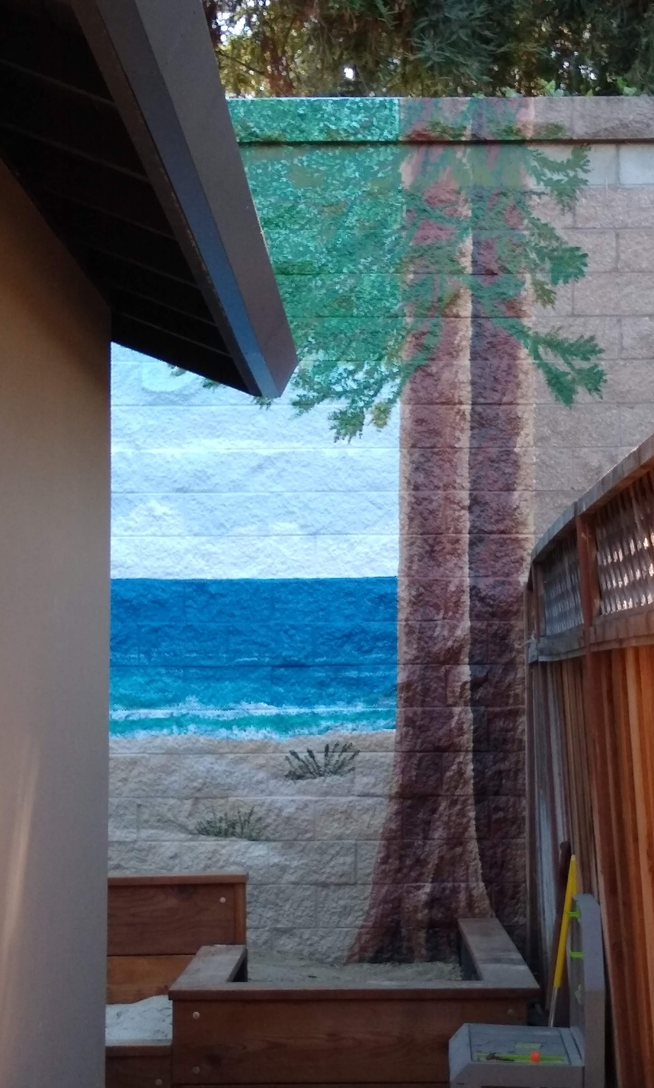 Working Artist Decorating - coastal patio, right alley view