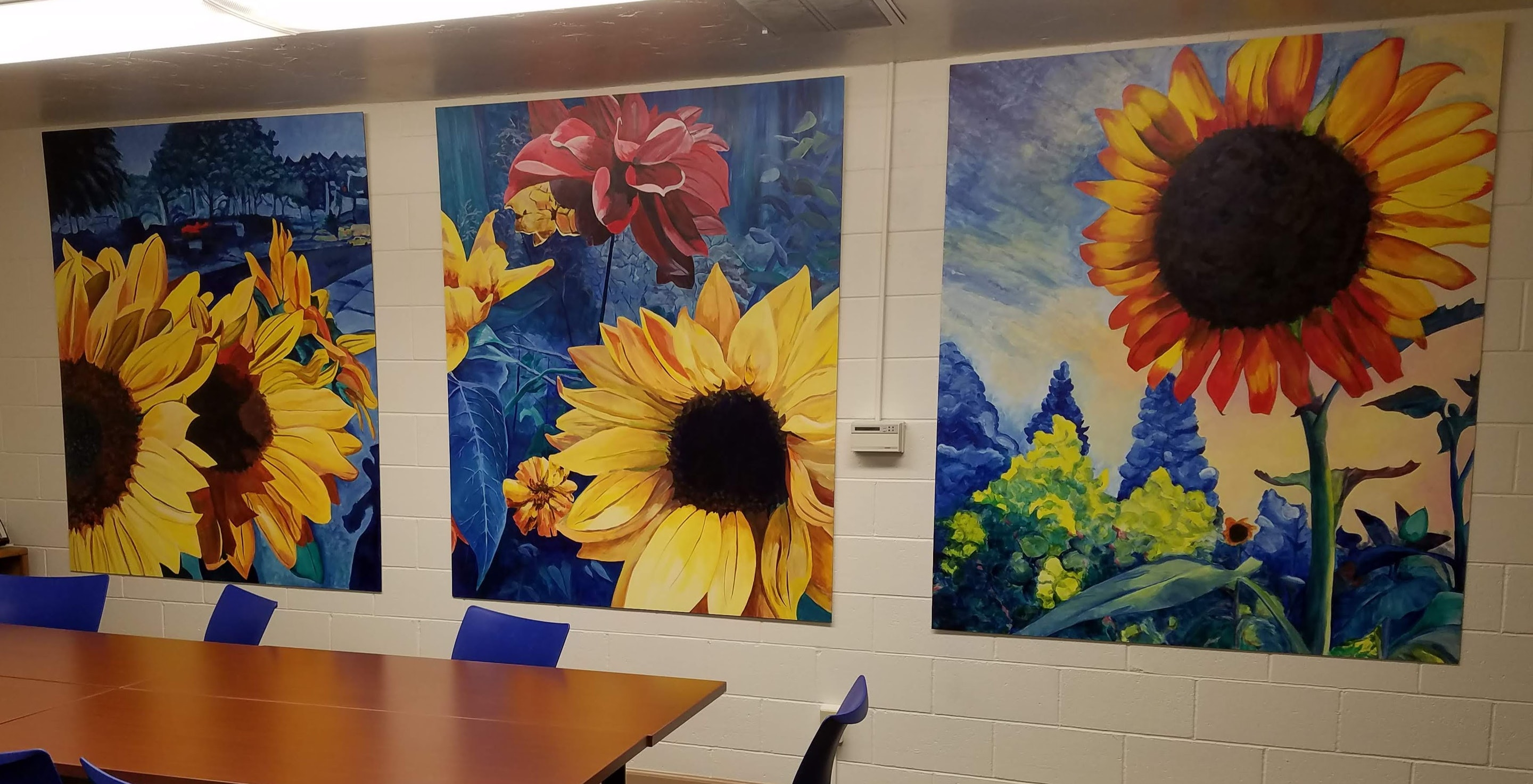 Working Artist Decorating - Conference Room Sunflowers