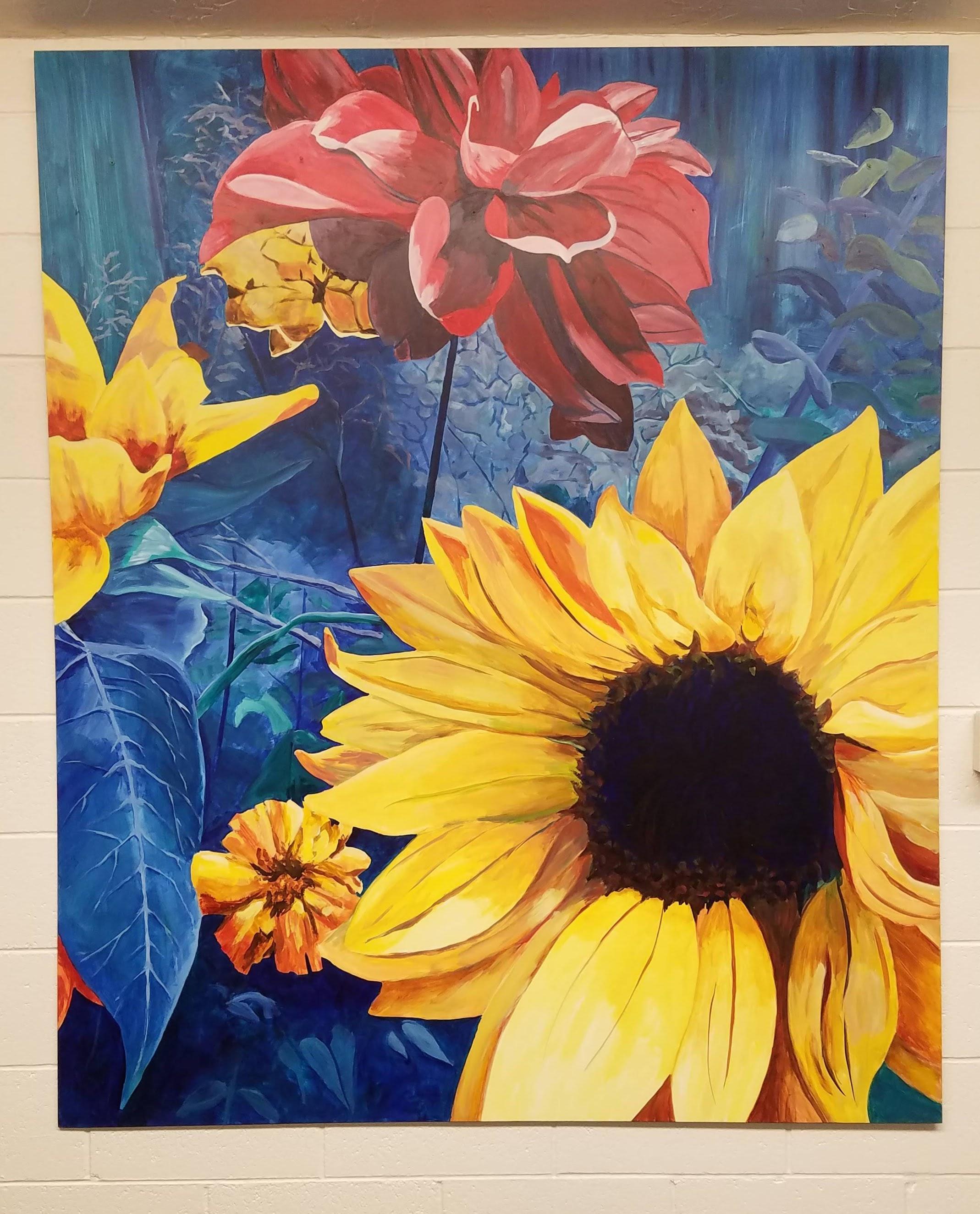 Working Artist Decorating - sunflower triptych, center panel