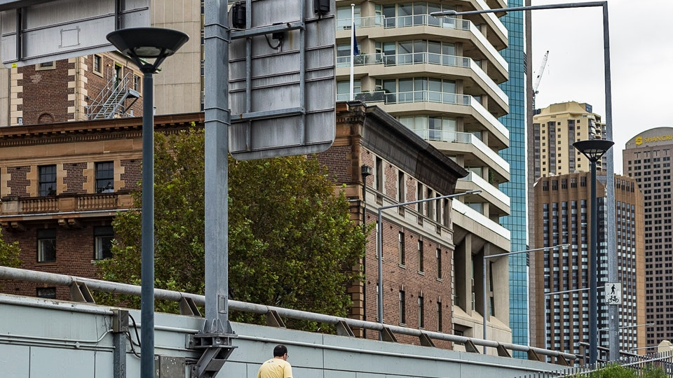 Monoliths, Turkshead Gallery 2020 - Leading onto the Cahill Expressway, a lone walker where there should be hundreds.