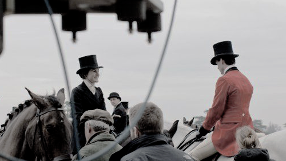 """Behind The Scenes - As Evelyn Napier on his steed """"as jumpy as a deb at her first ball."""" With Michelle Dockery as Lady Mary"""