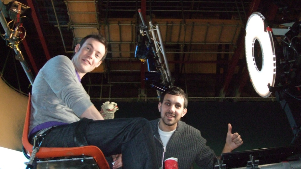 Behind The Scenes - Dynamo and I say hi between takes on the O2 magic commercial we devised