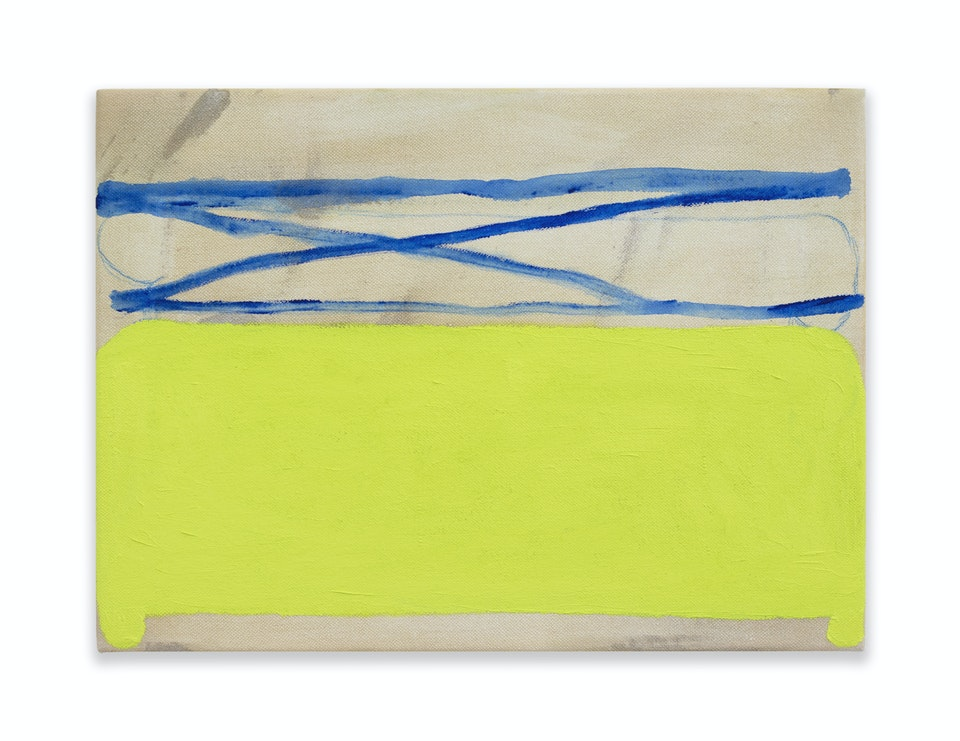 works I - Rest, 2021, 24.5x33 cm, colour pencil and acrylic on raw cotton duck.