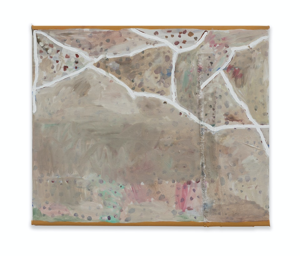 works II - Baratze - Tillage, 2018 - 2021, 50x60 cm, oil paint and collage on linen.