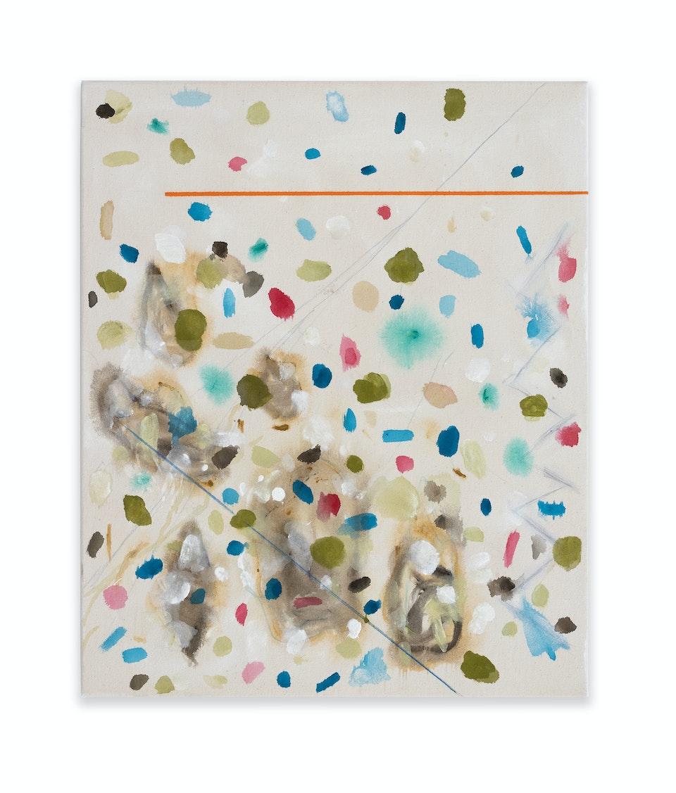 works I - Baratze -Miles D., 2021, 61x50 cm, acrylic, colour pencil and oil paint on cotton duck.