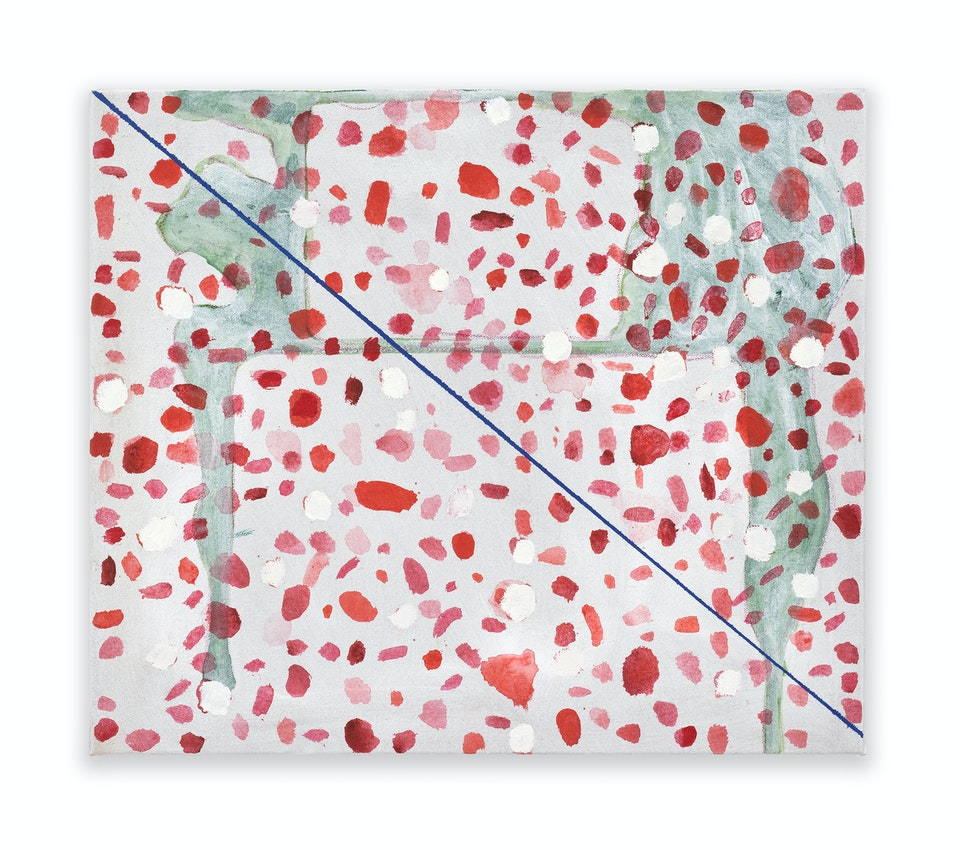 works II - Skirmish, 2019, 36x42 cm, acrylic, colour pencil and oil paint on linen.