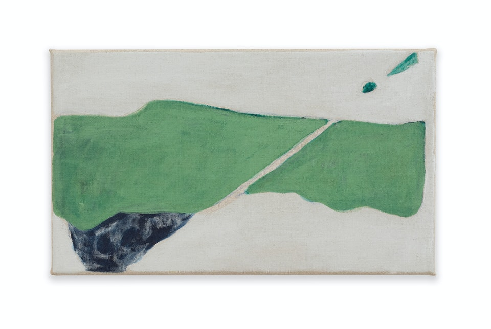 works I - Passage, 2020, 41x24cm, acrylic, colour pencil and oil paint on linen.