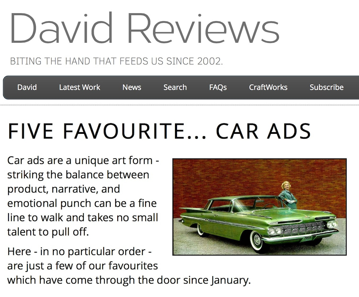 David Reviews Top Car Ads