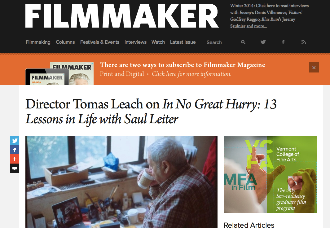 FIlmmaker Magazine Interview 1