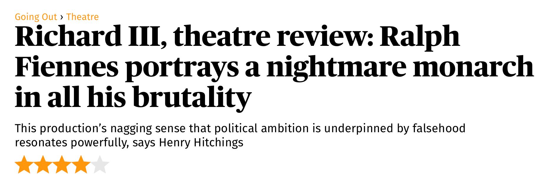 Evening Standard Richard III review