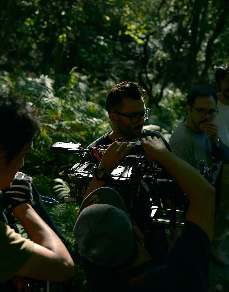 Jungle Møller on set of Sony with Oskar Wrangö