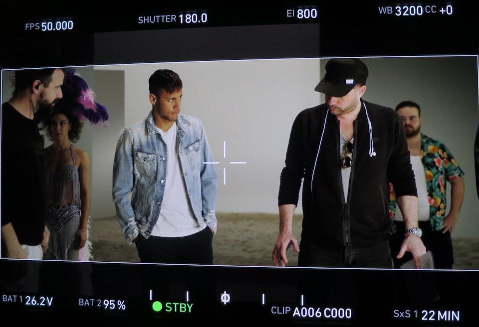Robert Jitzmark and Neymar on set of Replay