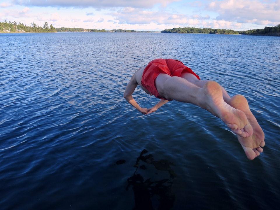 Quick dip during office away day in Värmdö