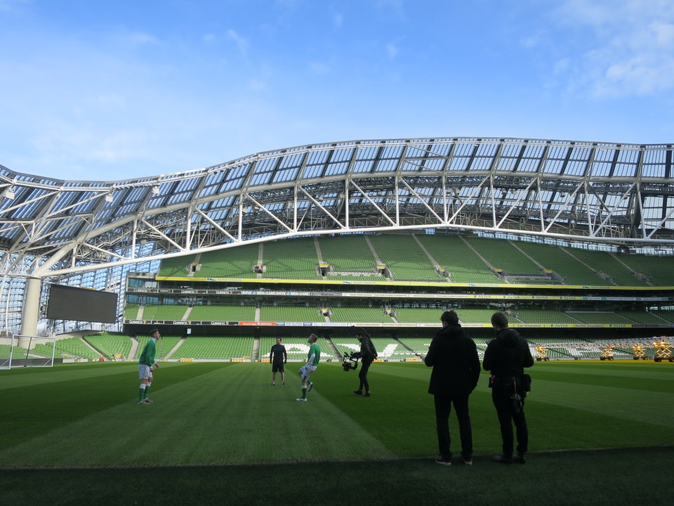 Sebastian Reed shoots at Aviva Stadium in Dublin for Eurovision with singer Nicky Byrne
