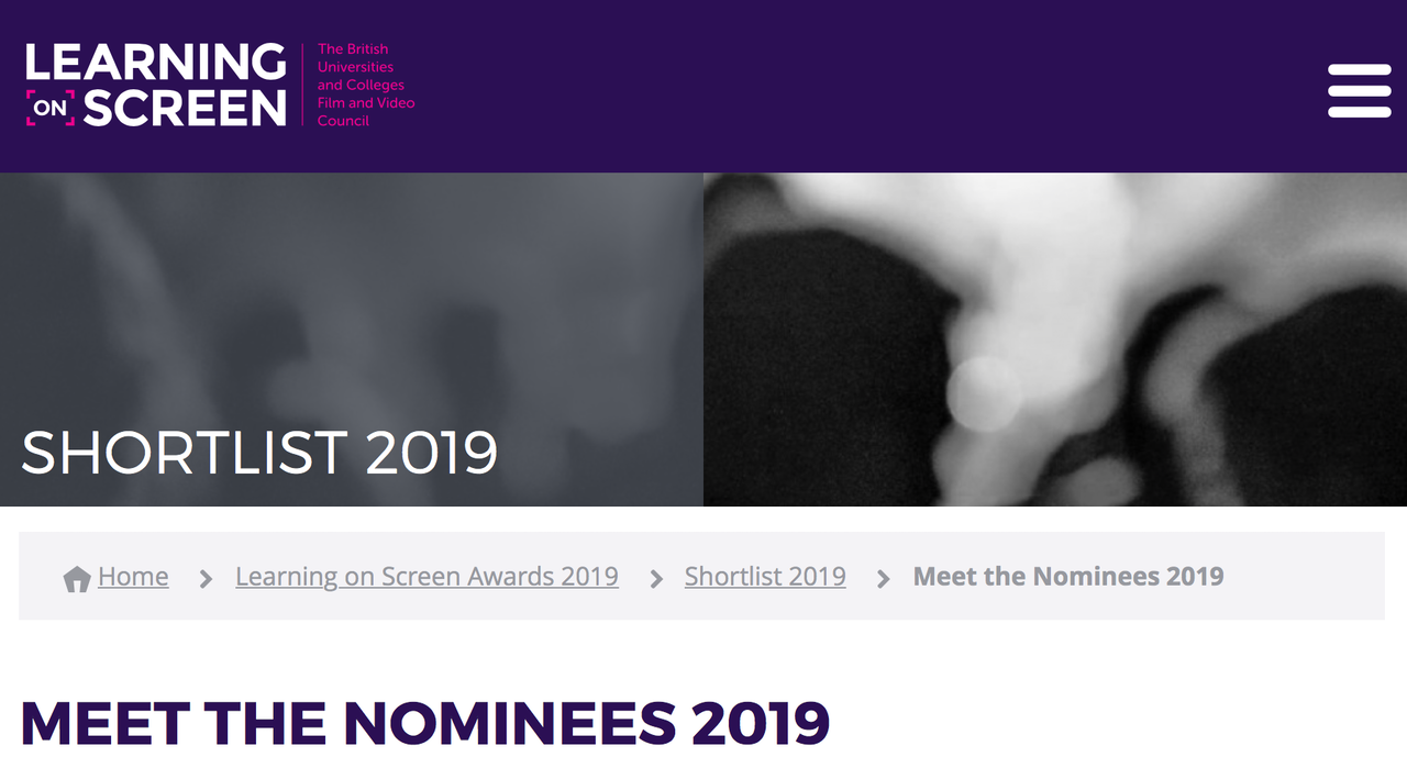 Jones' MA research on educational videos nominated: Learning on Screen Awards.