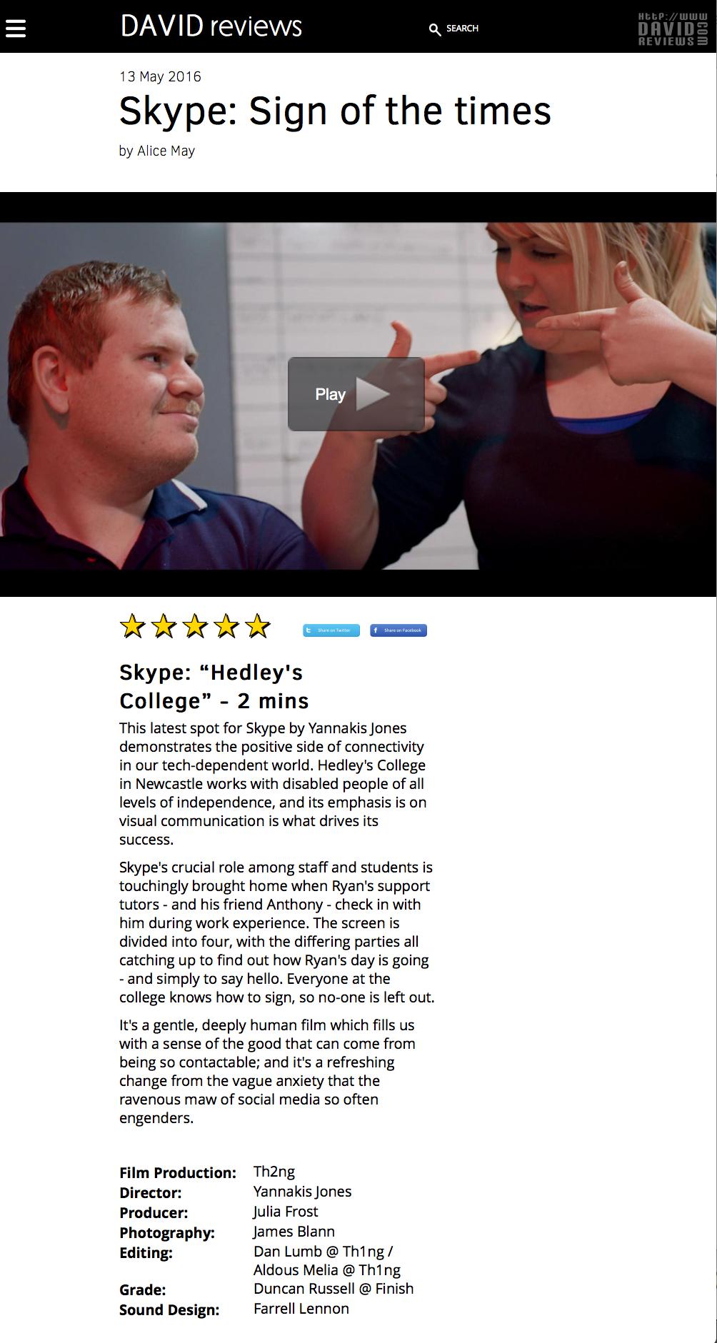 David Review Skype 'sign'.