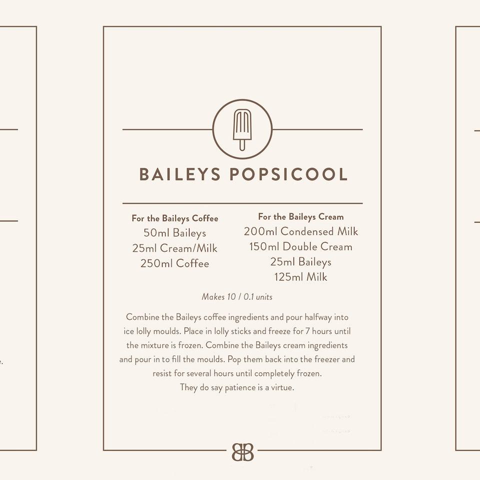 Baileys. Iced Coffee menu