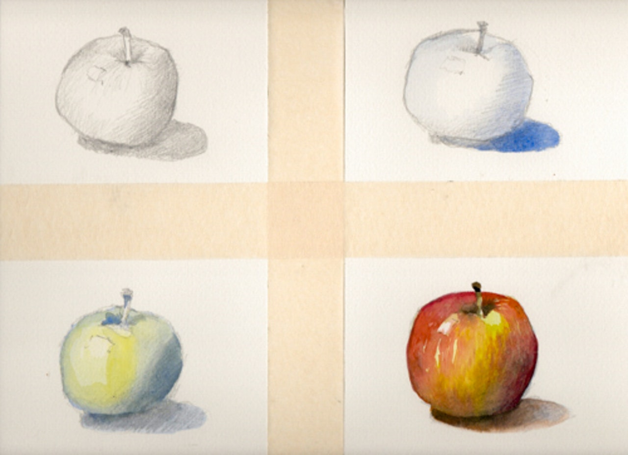 Four stages of apple