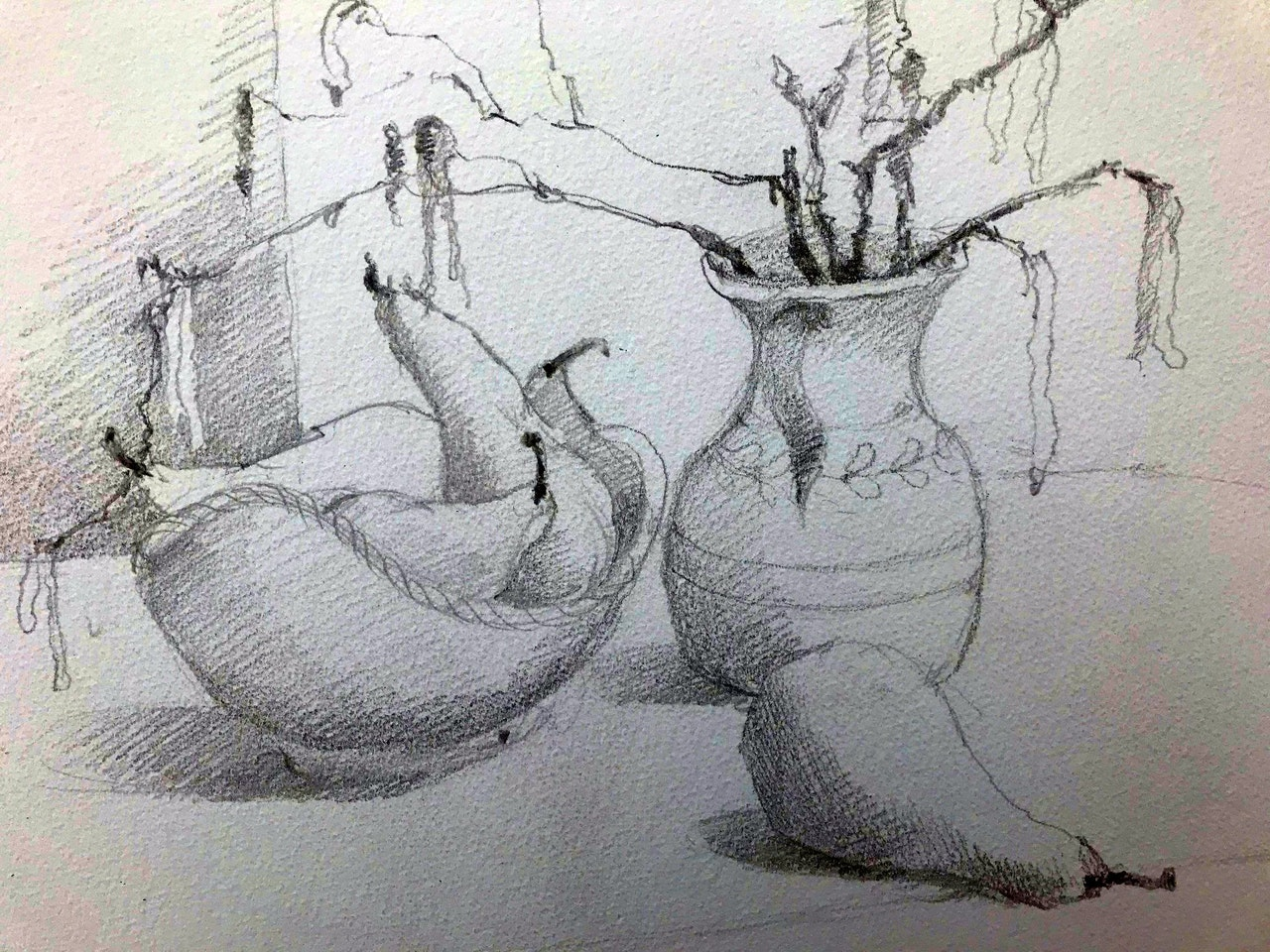 JJ5 Catkins and pears - main drawing detail