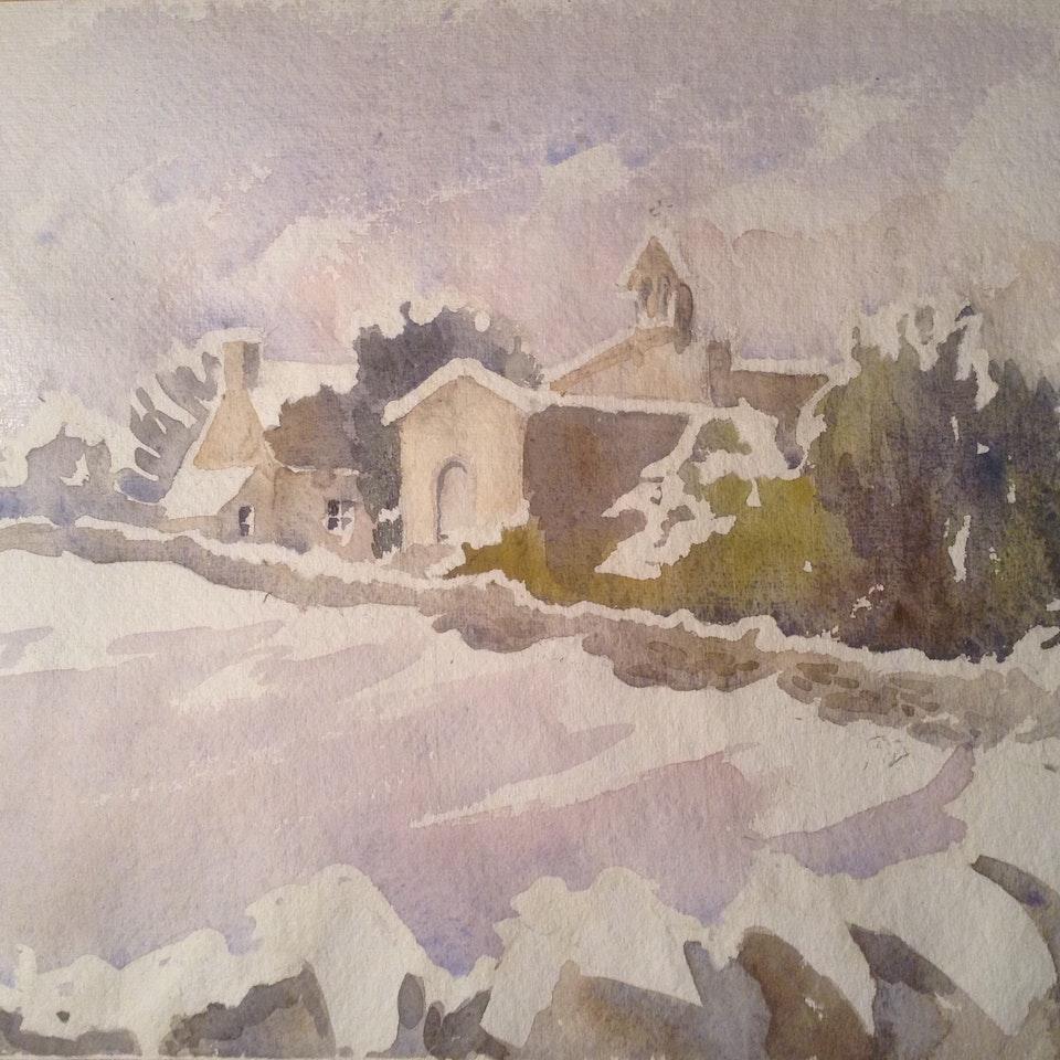 Churches in watercolour Shorthampton in. Snow