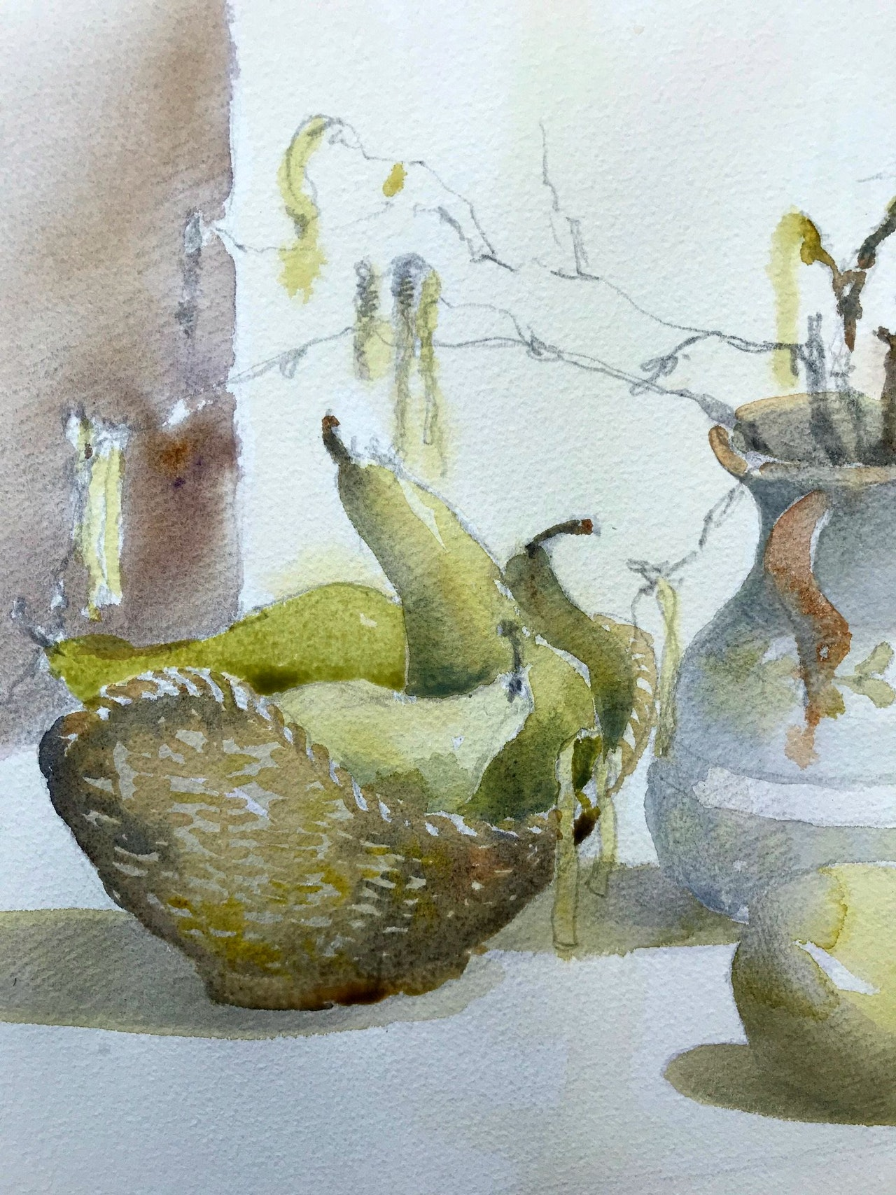 JJ5 Catkins and pears - initial washes. Final painting to follow shortly....