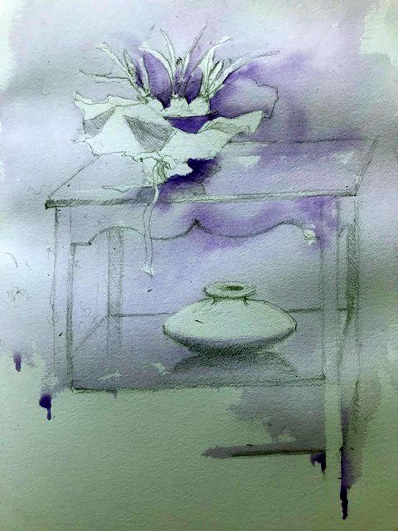 Grape Hyacinths with prelim Windsor purple wash!