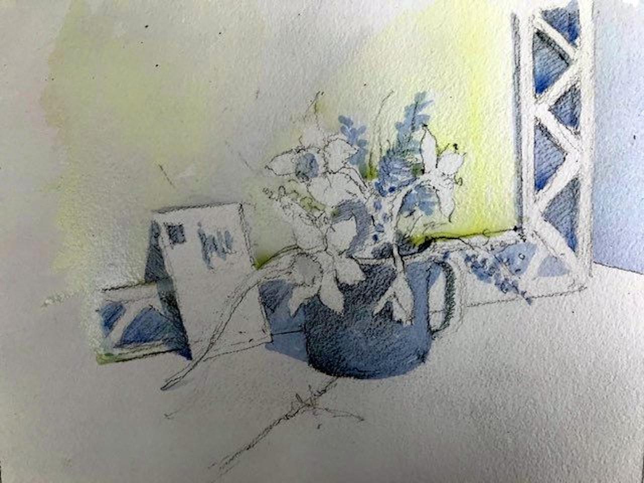 Week 9 Moody March, Daffs - blue wash