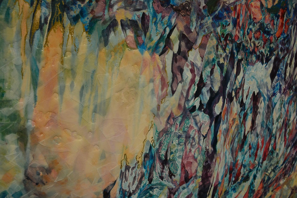 Polyphony - Polyphony (detail), acrylic and resin on canvas, 4' x 5', 2015.